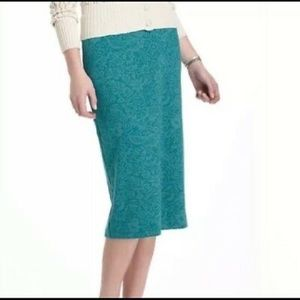 Anthropologie pencil skirt turquoise floral